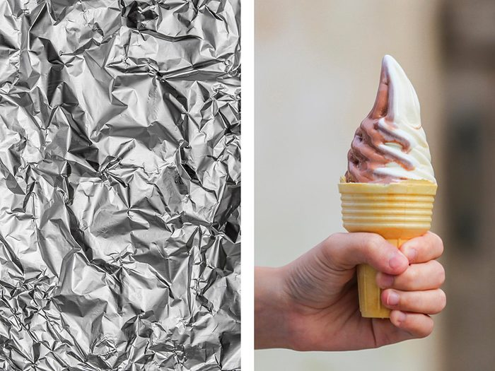 Empêcher un cornet de crème glacée de couler avec de l'aluminium ménager.
