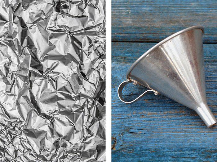 Fabriquer en entonnoir avec de l'aluminium ménager.
