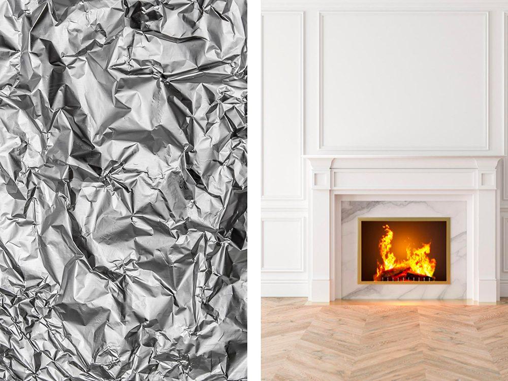 Récupérer les cendres de la cheminée avec de l'aluminium ménager.
