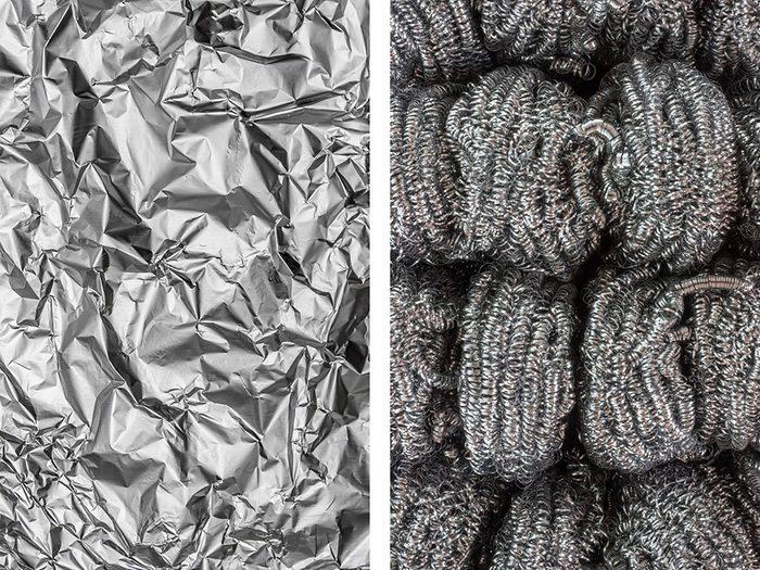 Conserver de la laine d'acier avec de l'aluminium ménager.