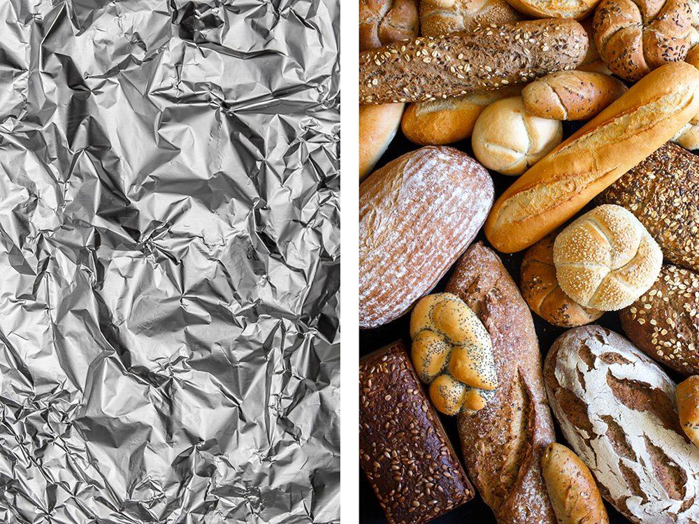 Garder pains et croissants au chaud avec de l'aluminium ménager.