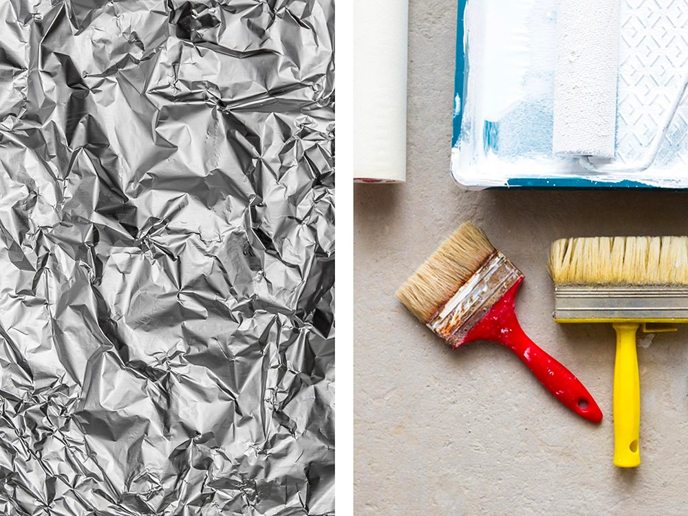 Tapisser des bacs à peinture avec de l'aluminium ménager.
