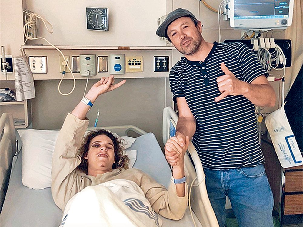 Brock Crouch à l'hôpital après l'avalanche.