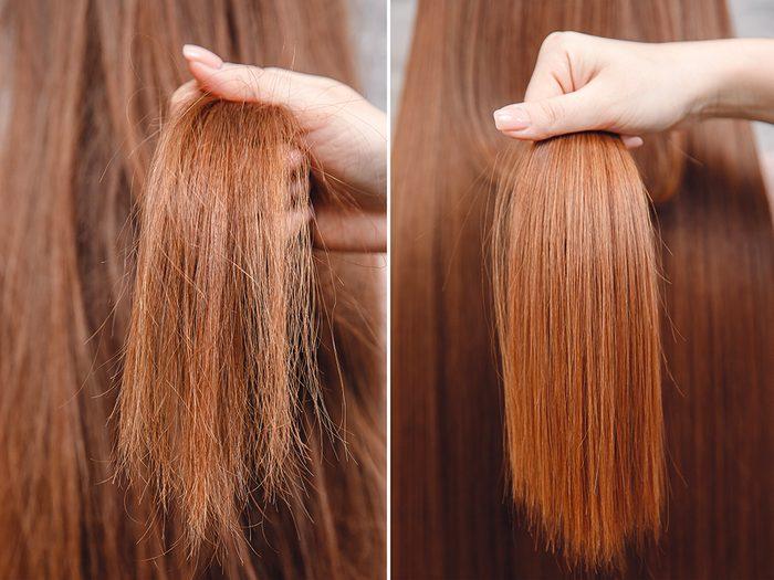 Réparez avant de couper vos cheveux.