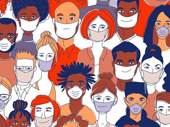 Restez en bonne santé en portant un masque de protection.