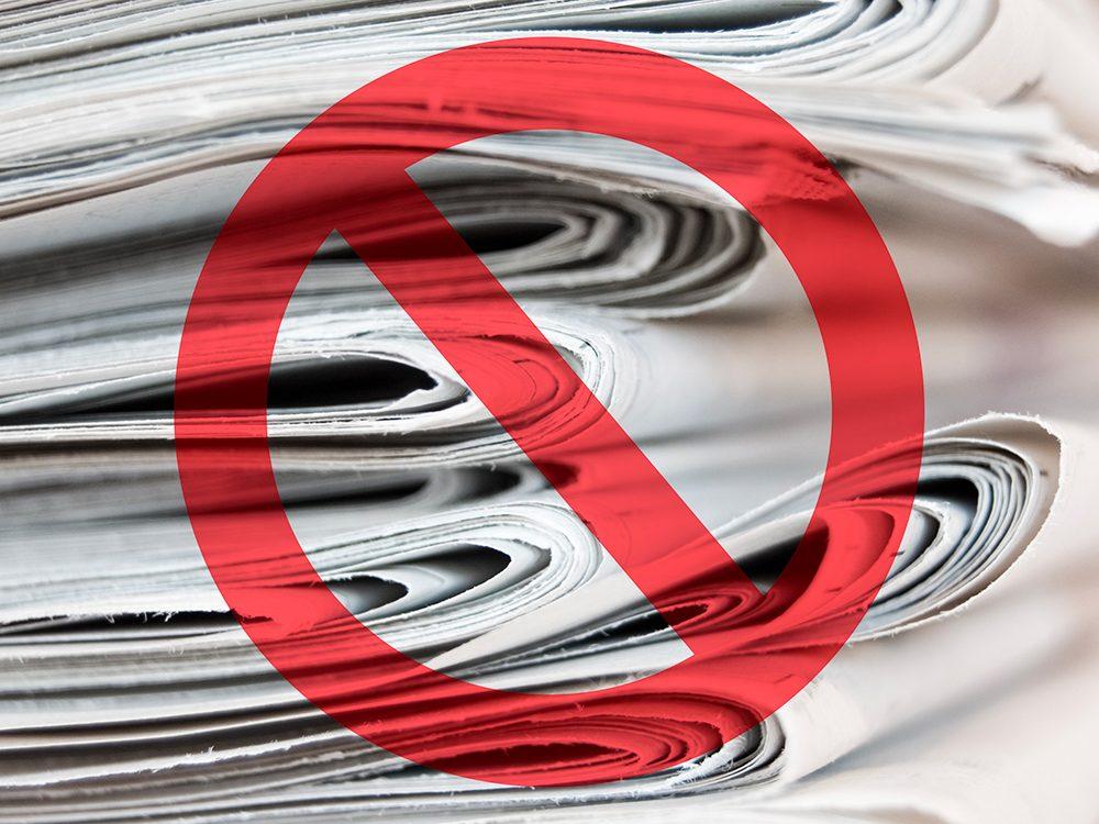Alternative au papier de toilettes: le papier journal.