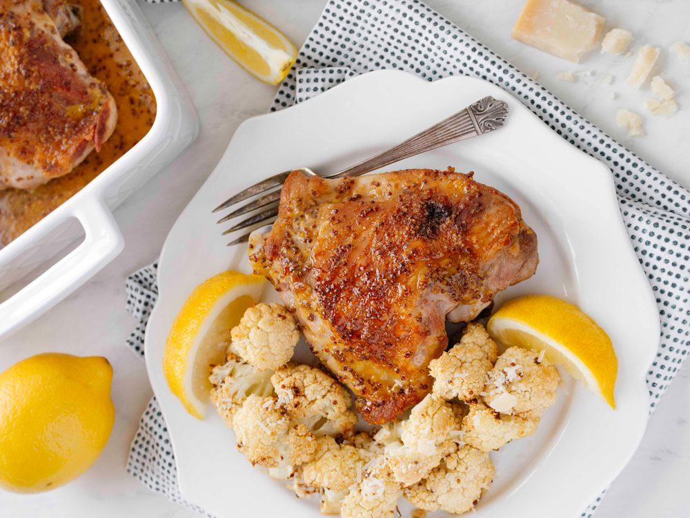 Recette: cuisses de dindon miel et Dijon avec chou-fleur.