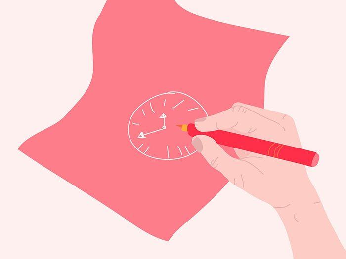 Dessinez une horloge pour vous auto diagnostiquer.