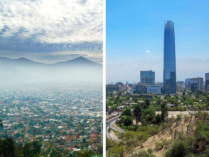 Santiago, au Chili, est l'une des villes les plus polluées.