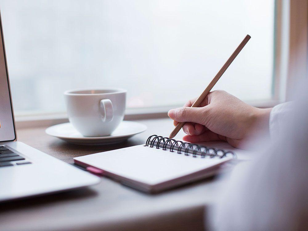 Prenez des notes pour arrêter de stresser.