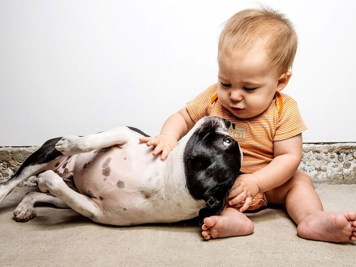 Ce bébé adore se blottir contre son chien.