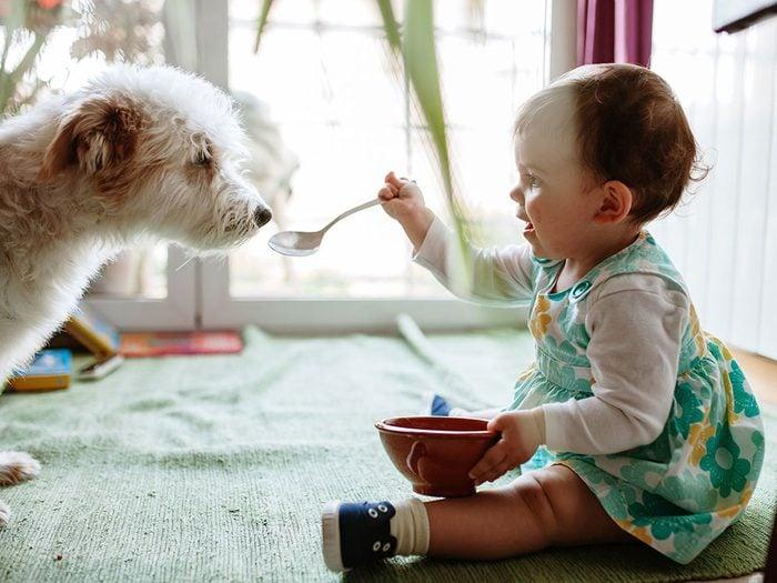 Ce bébé adore partager sa nourriture avec son chien!