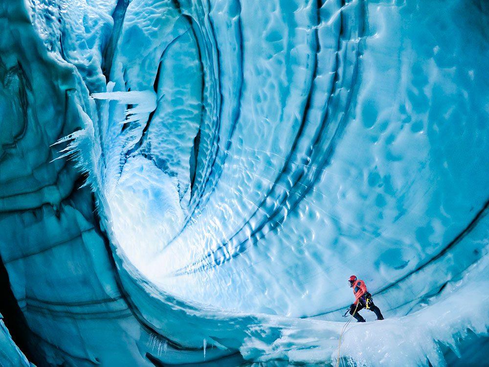 La grotte du glacier Langjokull.
