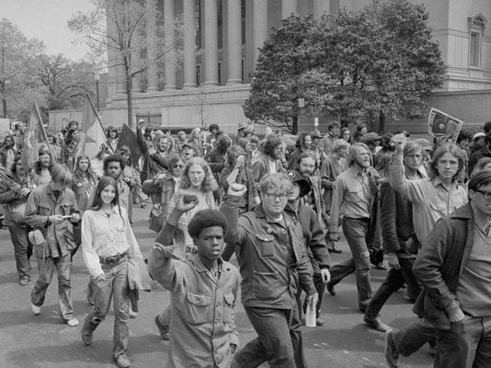Une photo d'époque des manifestations contre la guerre du Vietnam.