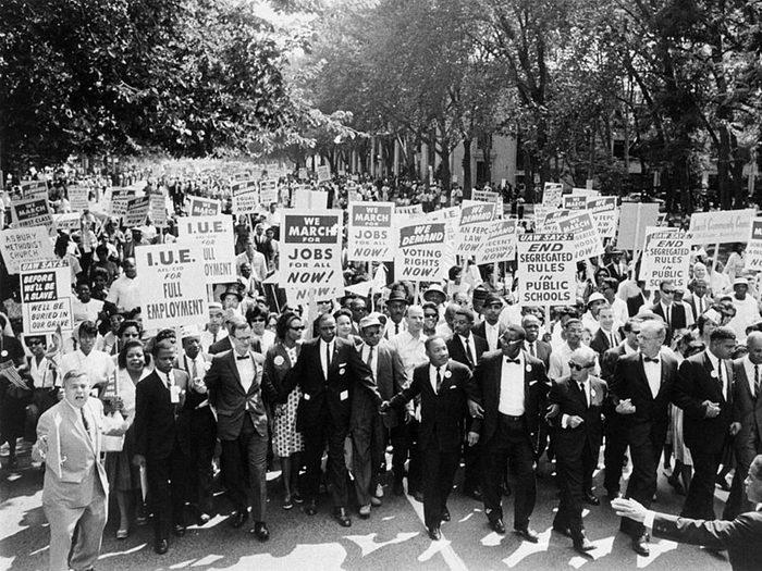Une photo d'époque de la a Marche sur Washington.