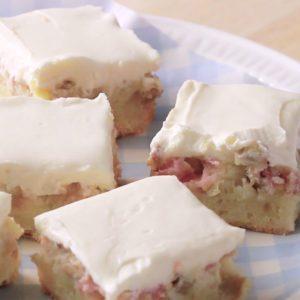 Barres de crème pâtissière à la rhubarbe