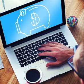 Banque en ligne et télétravail.