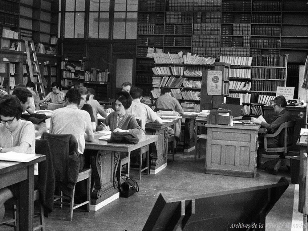 Québec d'autrefois: la salle Gagnon de la bibliothèque centrale, 15 avril 1967.
