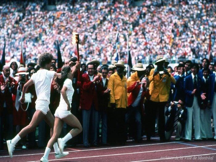 Québec d'autrefois: la cérémonie d'ouverture des J.O. au Stade olympique, 1976.