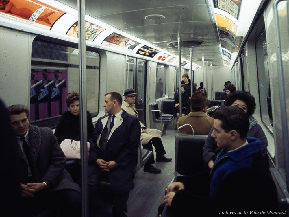 Québec d'autrefois: les wagons du métro de Montréal, 1966.