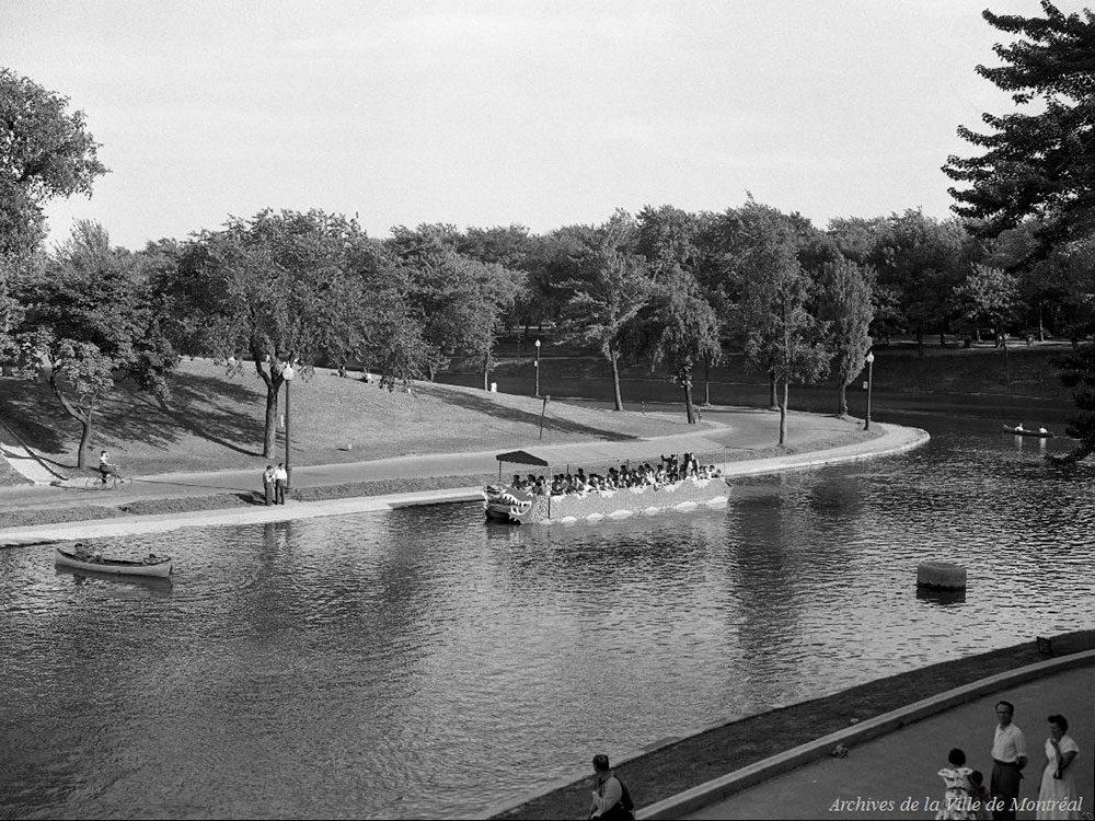 Québec d'autrefois: l'étang du parc La Fontaine, 17 juillet 1954.