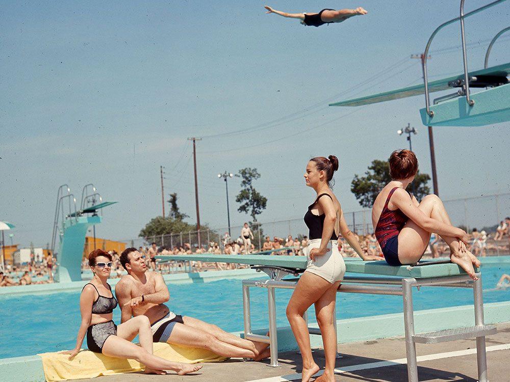Québec d'autrefois: la piscine de l'île Saint-Hélène, 10 juillet 1965.