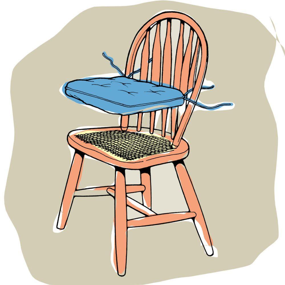 Astuces de bricolage: faire tenir en place des coussins de chaise.