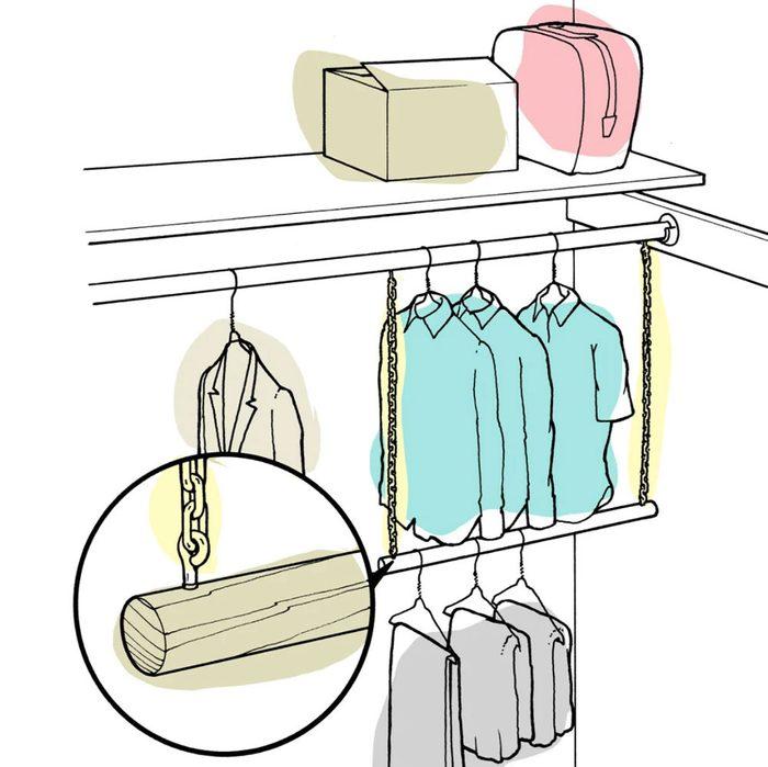 Astuces de bricolage: une deuxième tringle à vêtements.