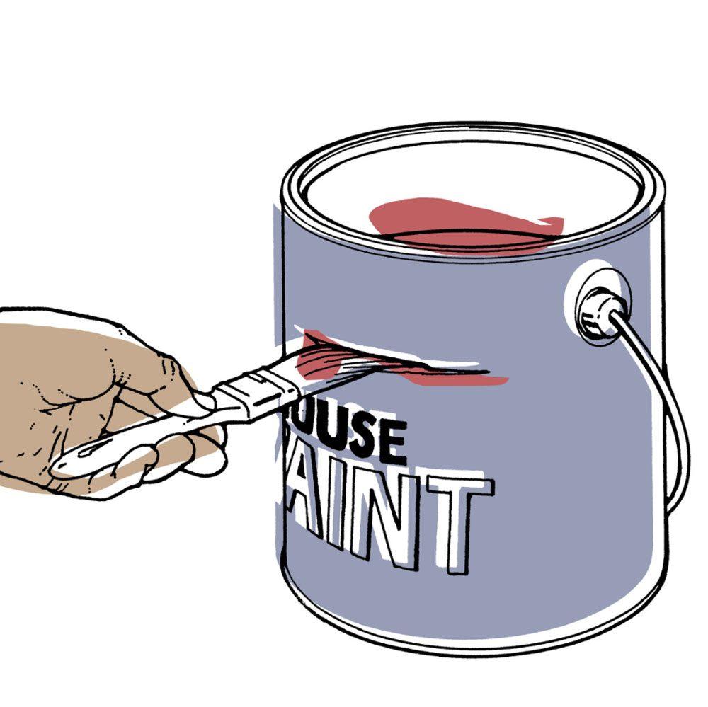 Astuces de bricolage: marquer le niveau de peinture.