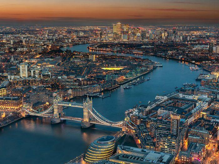 Photo aérienne de drone de Londres, au Royaume-Uni.
