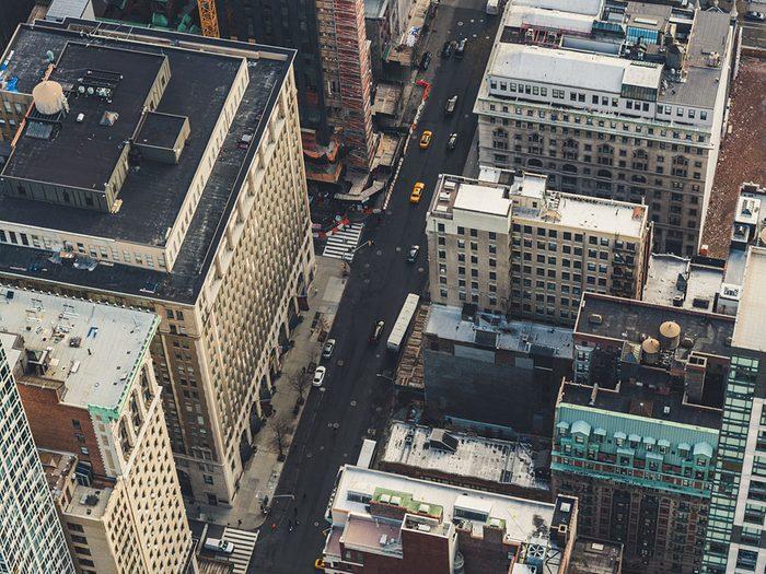Photo aérienne de drone de Manhattan, New York.