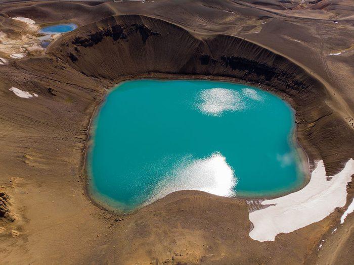 Photo aérienne de drone du cratère Kerið.