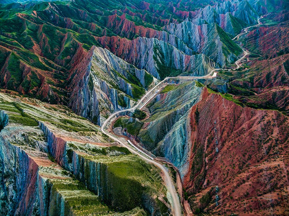 Photo aérienne de drone du relief Danxia.
