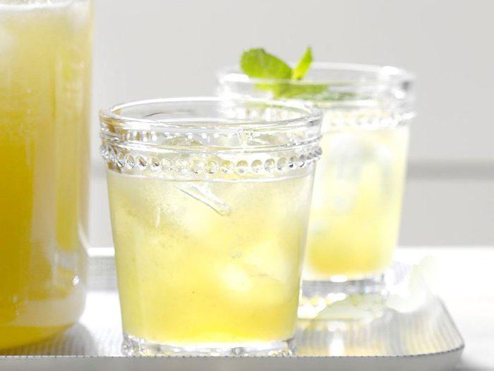 Thé à la menthe et au melon miel.