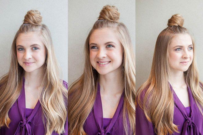 Le demi-chignon est une coiffure facile à faire!