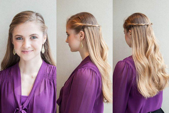 La demi-queue torsadée est une coiffure facile à faire!