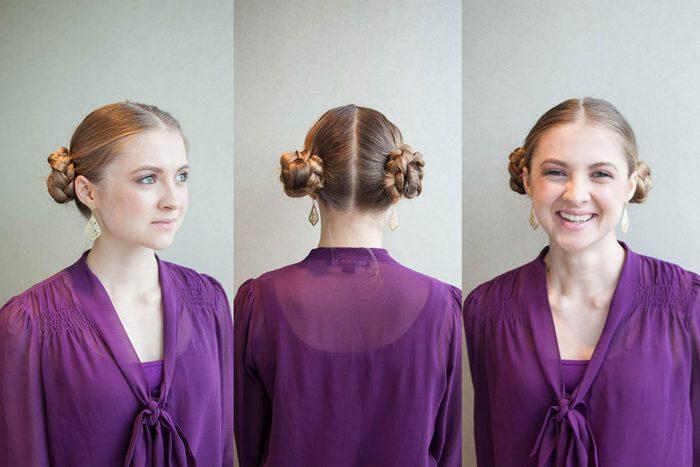 Les tresses inspirées de la princesse Leia font partie des coiffures faciles à faire!