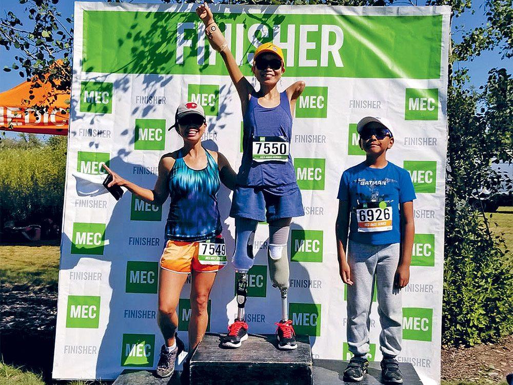 Après son intervention médicale et beaucoup de rééducation, Verna Marzo a pu participer à une course de 5kilomètres.