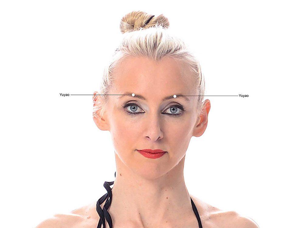 Points de pression pour soulager les maux de tête dues à la fatigue oculaire.