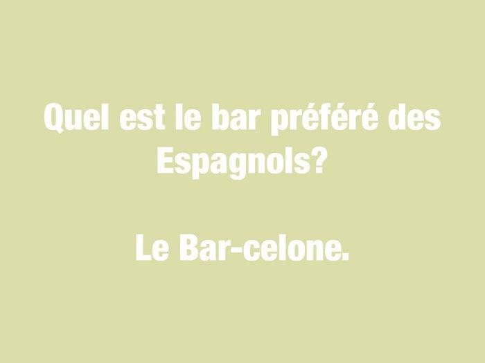 Blagues courtes: quel est le bar préféré des Espagnols?