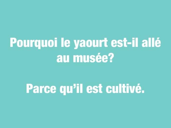 Blagues courtes: pourquoi le yaourt est-il allé au musée?