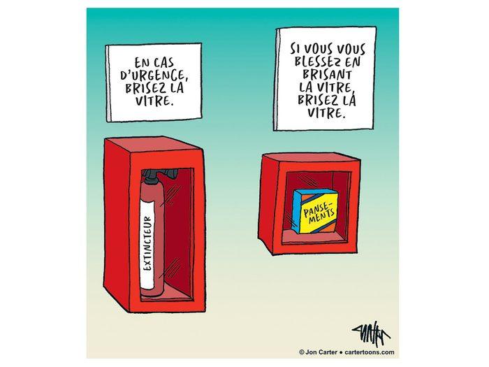 Caricature drôle sur la sécurité.