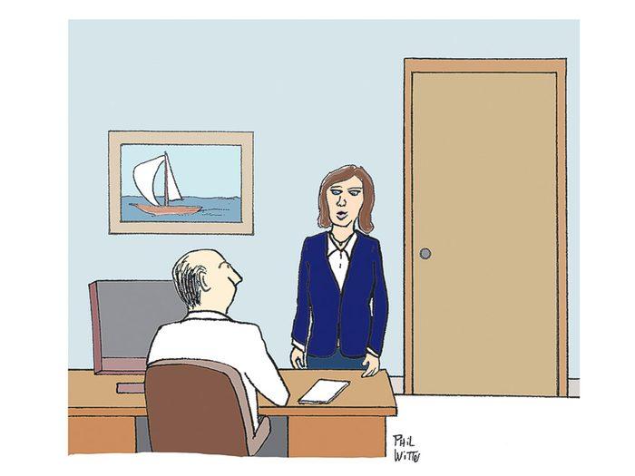 Caricature drôleau sujet du monde du travail.