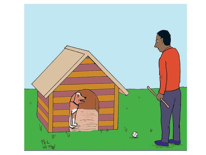 Caricature drôle sur un chien en télétravail.