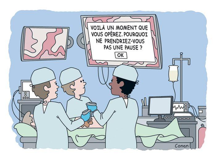 Caricature drôle sur le métier de chirurgien et la technologie.