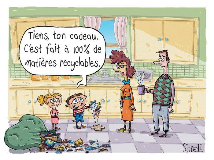 Caricature drôle sur le recyclage.
