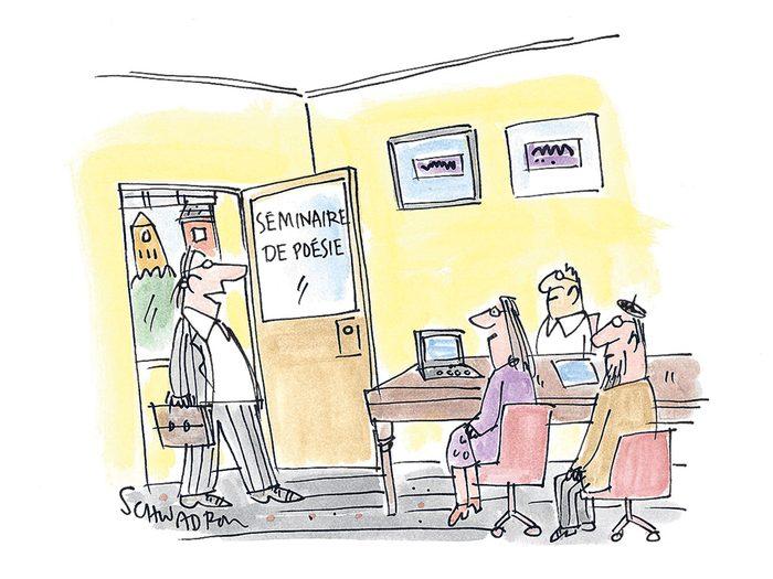 Caricature drôle sur le retard.