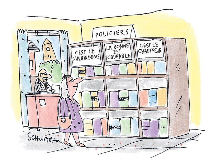 Caricature drôle sur les romans policiers.
