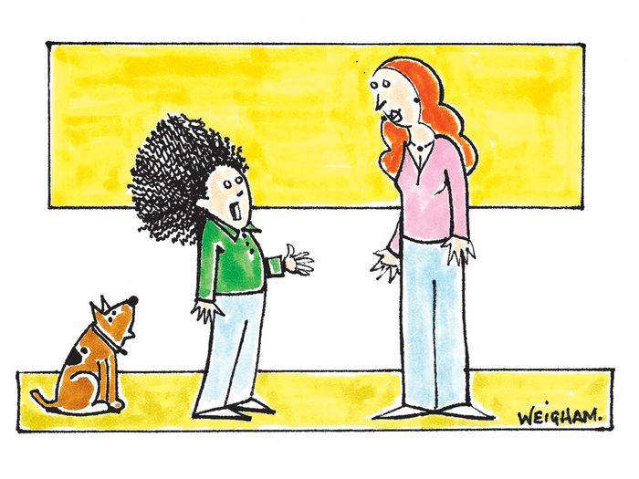 Caricature drôle sur le shampoing.