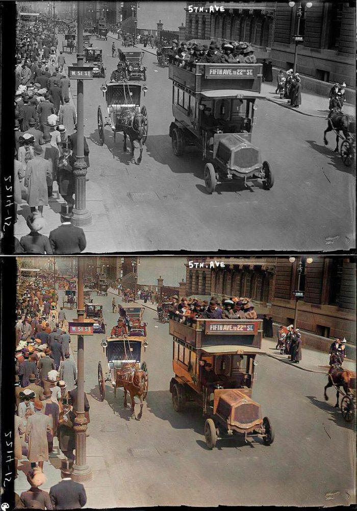 La photo colorisée de la célèbre 5e avenue de New York.